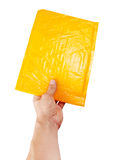 Hand holding yellow mail package Royalty Free Stock Image