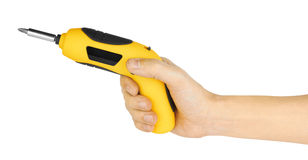 Hand holding yellow screwdriver Stock Images