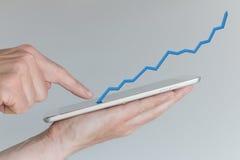 Hand holdingtableten Begrepp av ökande försäljningar från mobil online-shopping Arkivbilder