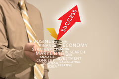 Hand holds an advertisement, success Stock Photo