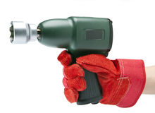 Hand holds air impact wrench Stock Photo