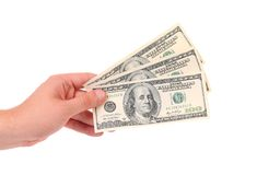 Hand holds american Dollar-bills Stock Images