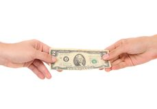 Hand holds american Dollar-bills Stock Photography
