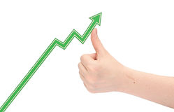 Hand holds the arrow graph Stock Images