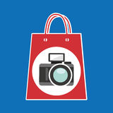 Hand holds bag gift camera design Stock Images