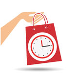 Hand holds bag gift clock design Stock Images