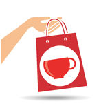 Hand holds bag gift cup coffee design Royalty Free Stock Image