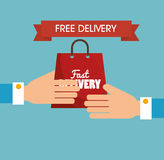 hand holds bag gift free delivery Stock Photos