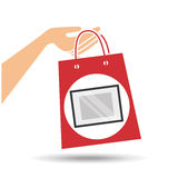 Hand holds bag gift mirror design Royalty Free Stock Photos