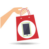 Hand holds bag gift phone design Royalty Free Stock Photos