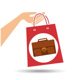 Hand holds bag gift portfolio design Stock Photo
