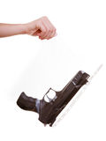 Hand holds bag with gun marked evidence of a crime. Law court or justice concept. Hand holding weapon gun - bag marked evidence of crime. Isolated on white royalty free stock images