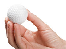 Hand holds a ball for golf Royalty Free Stock Photos