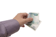 Hand holds a banknote of 1000 rubles Stock Photography