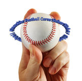 Hand holds baseball text circle Stock Photo