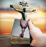 Hand holds the bible Stock Image