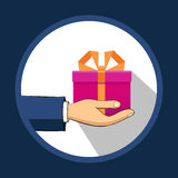 The hand that holds the box, gift. Flat style. Hand-drawn.  Stock Photos