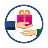 The hand that holds the box, gift, transfers it to another perso Stock Photos
