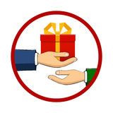 The hand that holds the box, gift, transfers Royalty Free Stock Photos