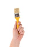 Hand holds brush. Royalty Free Stock Photos
