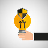 Hand holds bulb idea protection shield Royalty Free Stock Photos