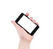 Hand holds cell phone with clipping path. Isolated on a white background Stock Image