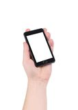 Hand holds cell phone with clipping path. Royalty Free Stock Photo