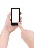 Hand holds cell phone with clipping path. Royalty Free Stock Image