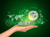 Hand holds city of skyscrapers. Earth globe, Stock Images