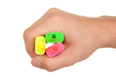 Hand holds colour markers Royalty Free Stock Photos