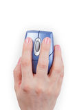 Hand holds computer mouse Stock Image