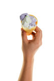 Hand holds cone  ice cream. Isolated on a white background Royalty Free Stock Image