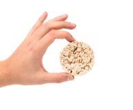 Hand holds corn crackers. Royalty Free Stock Photos