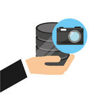 Hand holds data photographic camera icon Royalty Free Stock Photography