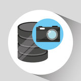 Hand holds data photographic camera icon vector illustration