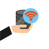 Hand holds data wifi connected icon. Vector illustration eps 10 Royalty Free Stock Photo