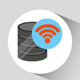 Hand holds data wifi connected icon. Vector illustration eps 10 Royalty Free Stock Images