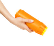 Hand holds detergent bottle Royalty Free Stock Photos