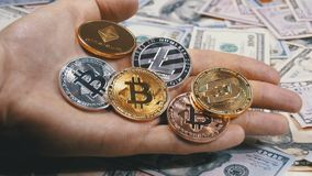 Hand Holds Different Coins of Cryptocurrency on a Table with US Dollars are Rotating. Crypto currency in Macro. Crypto Currency Close-up. Virtual money on stock video