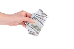 Hand holds dollar bills. Royalty Free Stock Photo