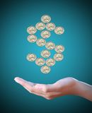 Hand holds a dollar coin sign Royalty Free Stock Photos