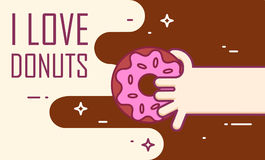 Hand holds a donut. Vector banner for fast food. Thin line flat design card.  Stock Photography