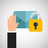 Hand holds email security icon Royalty Free Stock Images