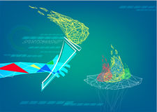 A hand holds flame of sportsmanship in abstract low poly style. Editorial Clip Art. Stock Photo