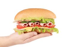 Hand holds french baguette sandwich. Stock Photography