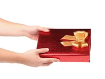 Hand holds gift box Royalty Free Stock Images