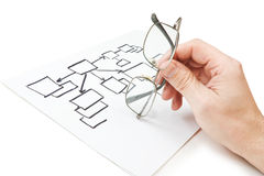 Hand holds  glasses and  block diagram Stock Photography