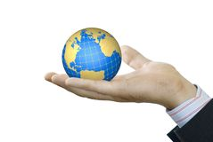 Hand holds globe. Of the white background Royalty Free Stock Photos
