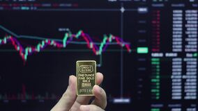 A hand holds a gold bar against the background of a trading price chart.One ounce of gold in your hand.Gold trading on the stock e