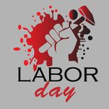 Hand holds a Hammer in Labor Day. A single hand holds a Hammer with typhography illustration vector Stock Photo